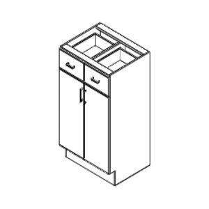 White Shaker - Base – 2 Top Drawers / 2 Doors - 30, 34 11/16, 24